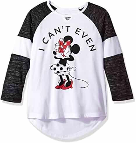 Disney Big Girls' Minnie Mouse Long Sleeve Raglan Top