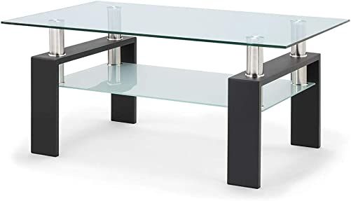Recaceik Glass Coffee Table, Modern Center Table with Shelf for Living Room, Black