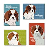 Cavalier King Charles Spaniel Gifts Set of 4 Refrigerator Magnets with Funny Sayings, Cavalier King Charles Spaniel Art Funny Dogs Fridge Magnets Pack
