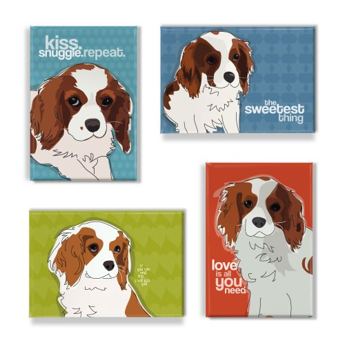Cavalier King Charles Spaniel Gifts Set of 4 Refrigerator Magnets with Funny Sayings, Cavalier King Charles Spaniel Art Funny Dogs Fridge Magnets - Cavalier Magnet Charles King