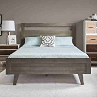Madrid Rubberwood and Veneer Manufactured Light Charcoal Grey Finished Queen-size Bed (47.2 Inches High X 61.8 Inches Wi