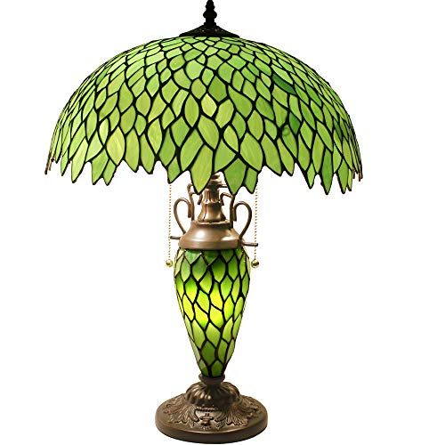 Tiffany Style Table Lamp 24 Inch Tall 3 Light Pull Chain Green Wisteria Stained Glass Lampshade Beside Desk Lamp Antique Base for Living Room Coffee Table Bedroom S523 WERFACTORY ()