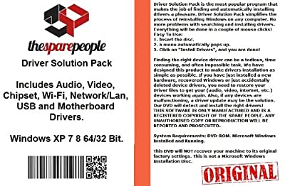 Driver Solution Pack For Dell XPs 420 Installs Fix Audio Video Chipset Wi-Fi Network/Lan USB Motherboard Drivers- Windows XP Vista 7 8 32/64 Bit DVD Disk