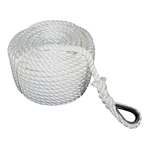 SGT KNOTS Twisted Nylon Anchor Rope (3/8 inch) with Thimble 3 Strand Braid - Rot, Chemical, Moisture, Abrasion Resistant - Anchor Rode Setup, Docking, Pulling, Hoist, Pulley, Camping (100 ft)