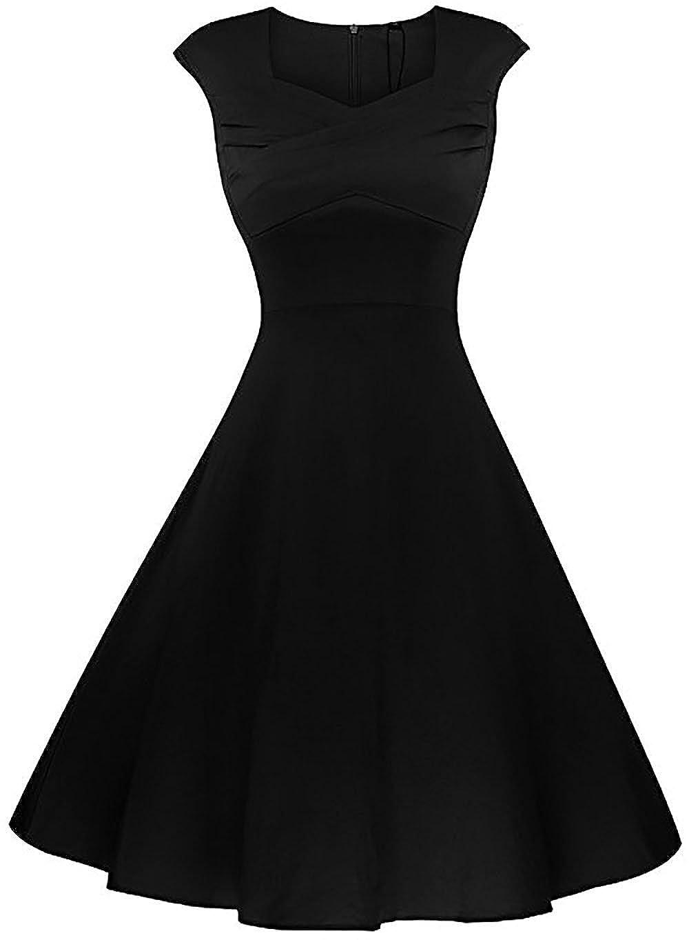 Black3 Beauty Decor Women's Elegant Dress ALine Cap Sleeve V Neck Little Cocktail Party Dresses