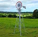 USA Premium Store Metal 8FT Windmill Yard Garden Decoration Weather Rust Resistant Wind Spinners