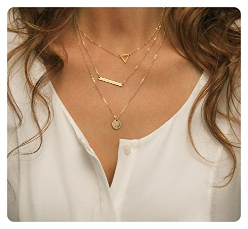 Fremttly Womens 14k Gold Fill Delicate Moon Phase Necklace Dainty Crescent Moon Necklace-Layered-3