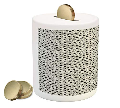 - Ambesonne Orient Piggy Bank, Scattered Geometric Simple Mosaic Shapes Oriental Circles Triangles, Printed Ceramic Coin Bank Money Box for Cash Saving, Charcoal Grey Eggshell