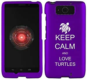 Motorola Droid ULTRA XT1080 Snap On 2 Piece Rubber Hard Case Cover Keep Calm and Love Turtles (Purple)