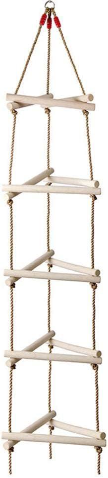 fridaymonga Escalera De Cuerda De Escalada, Triángulo Escalera De Madera Marco De Escalera De 5 Peldaños Escalera De Cuerda con Peldaños De Madera Ideal para Casa En El Árbol, Dens, Casa De