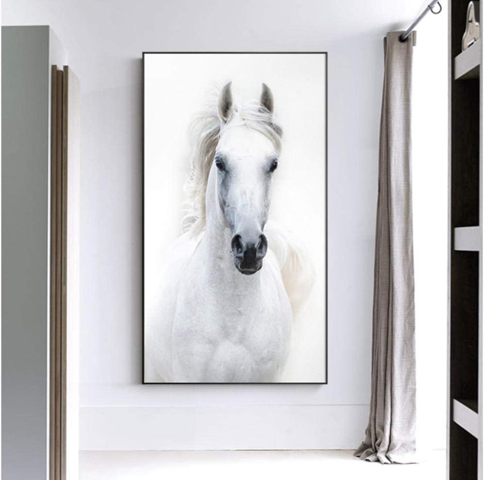 Nordic Style White Horse Canvas White Poster Print Modern Wall Art Pictures For Living Room Bedroom Aisle Studio Entrance Lobby 60x110cm frameless
