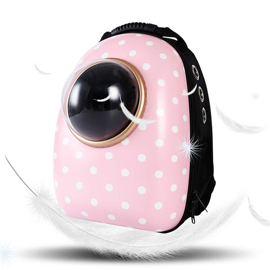 Pet Backpack Space Cat and Small Dog Outing Bag Portable Pet Backpacks Pink Dot