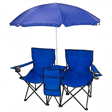 Best Choice Products® Picnic Double Folding Chair w Umbrella Table Cooler  Fold Up Beach Camping Chair