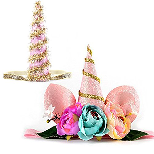 Unicorn Baby Headband Paty Supplies Gold Glitter pink Horn Headpiece Flower Crown Bunny Ear Hair Accessories Dress Up Birthday Party Favors for Women Kids Photo Props Outfit (pink (Infant Magical Unicorn Costumes)