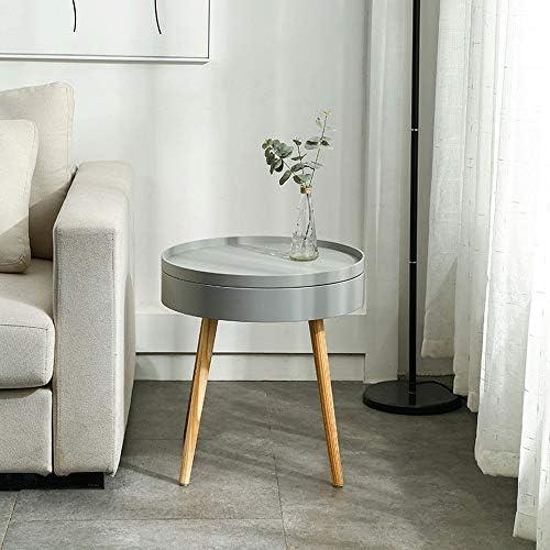ローテーブル ベッドルームやリビングルームのためにベッドサイドテーブルナイトエンド表のストレージスペースの木製のテーブル カフェテーブル (Color : Gray, Size : 49.5×51.5cm)
