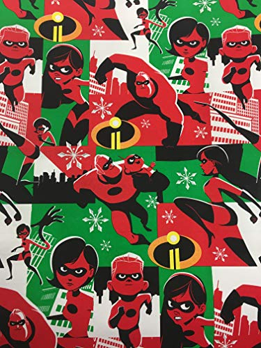 Disney's Pixar The Incredibles 2 Christmas Gift Wrapping Paper -20 Square Feet 1 Roll
