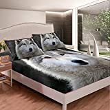 Feelyou White Wolf Bed Sheet Set Safari Wild Animal