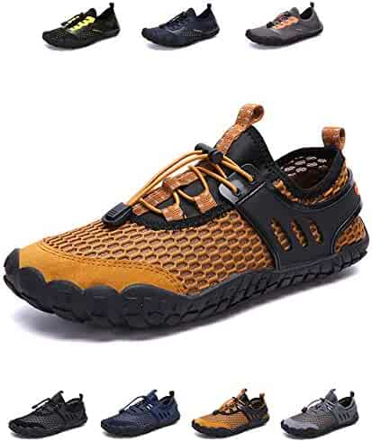 f75a7646ad66 YUHUAWYH Mens Womens Water Shoes Quick Dry Barefoot Aqua Shoes for Water  Sports Fishing Beach Hiking