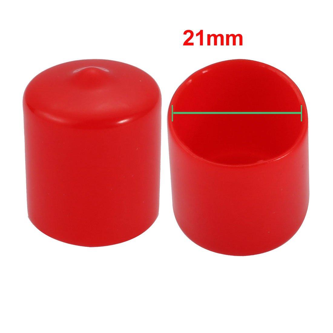 uxcell 20Pcs 21mm Inner Dia PVC Flexible Vinyl End Cap Screw Thread Protector Cover Red