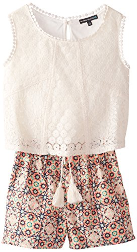 My Michelle Big Girls' Romper with Lace Popover and Printed Shorts, Multi, Small