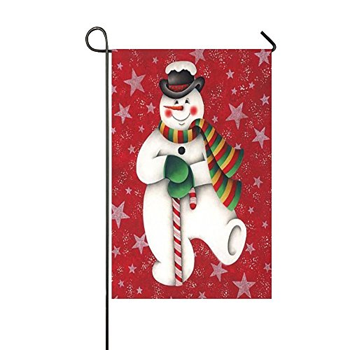 (Dora's Flag Christmas Dancing Smiling Snowman Hold The Candy Cane 28x40 Inch Garden Flag - Double Sided Holiday Decorative Outdoor House Flag)