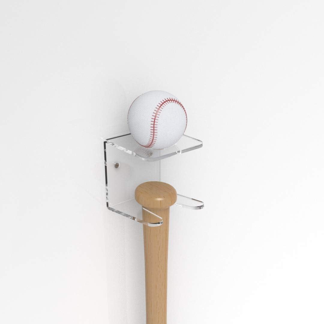 Soporte para bate b/éisbol 2 unids set Accesorios Tienda acr/ílico transparente para el hogar F/ácil instalaci/ón Pantalla horizontal Estante soft Soporte almacenamiento soporte montado en la pared