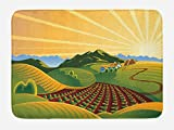 Lunarable Country Bath Mat, Crop Field Garden Grass Meadow Mountain Path Farm Sunrise Elements for Agriculture, Plush Bathroom Decor Mat with Non Slip Backing, 29.5 W X 17.5 W Inches, Multicolor