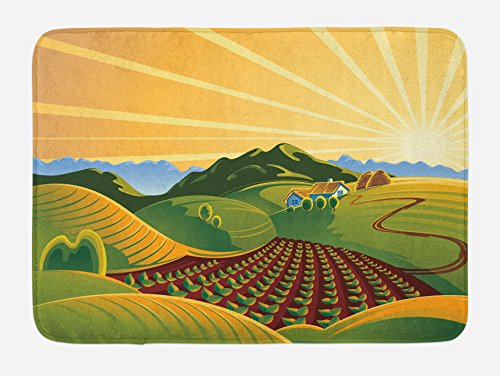 Lunarable Country Bath Mat, Crop Field Garden Grass Meadow Mountain Path Farm Sunrise Elements for Agriculture, Plush Bathroom Decor Mat with Non Slip Backing, 29.5 W X 17.5 W Inches, Multicolor by Lunarable (Image #2)