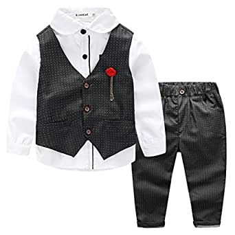 Kimocat Kids 3pcs Formal Clothing Set, Vest, Shirt, Pants, Brooch for 3-7 Years - Black - 5 Years(Tag Size 120)