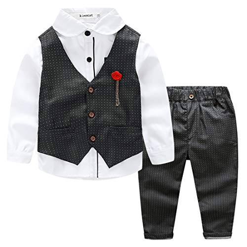 Kid Boys 3pcs Classic Formal Clothing Set Long Sleeve V-Neck Waistcoat Gentlemen Wedding Outfits Tuxedo Suit, 6Y by Kimocat