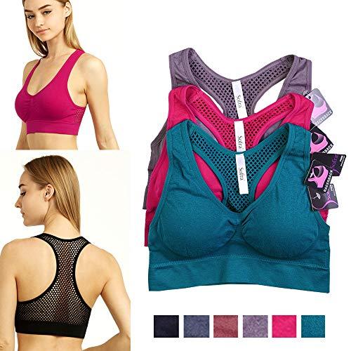 3 Pc Womens Sports Bra Fitness Stretch Workout Seamless Padded Bounce Yoga New