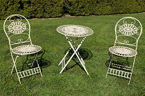 Alpine Corporation KIY212A-WT Metal Bistro Table and 2 Chairs Set, Foldable Garden Furniture, White