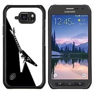 Caucho caso de Shell duro de la cubierta de accesorios de protección BY RAYDREAMMM - Samsung Galaxy S6Active Active G890A - Guitarra Heavy Metal Rock Negro Blanco