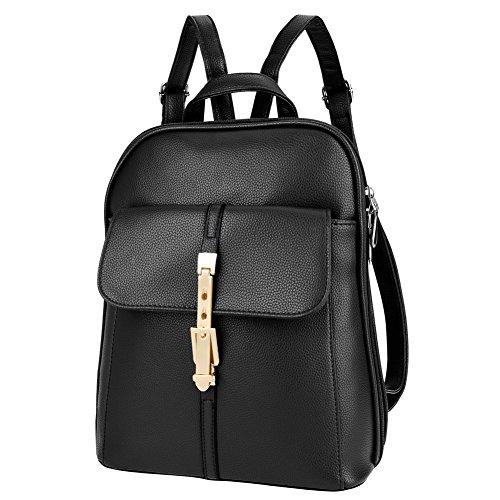 Vbiger Leather Backpack Shoulder Handbag Stylish Lovely for Women (X-Black)