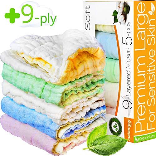 Baby Washcloths - Muslin Washcloth Pack - 9-ply 12x12 Ultra Soft Baby Muslin Washcloths for Kids - Organic Washcloths bulk - Baby Bath Towel set - Baby Bath Towels - Infant Newborn Kids Washcloths