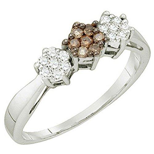0.26 Carat (ctw) 10K White Gold White & Brown Diamond Ladies Cluster Flower Ring ()