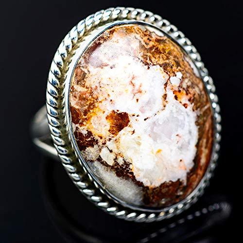 Large Peanut Wood Jasper Ring Size 9.25 (925 Sterling Silver) - Handmade Boho Vintage Jewelry RING942660