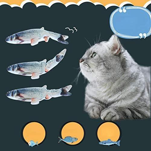 Ellaao Giocattoli Elettrici per Pesci per Gatto Simulazione realistica di Peluche Pesce Bambola elettrica Giocattolo Interattivo da Masticare per Gatti Divertenti Animali interattivi Forniture
