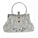 MY Women's Vintage Beaded sequined Evening Bag Wedding Party Handbag Clutch Purse,Silver