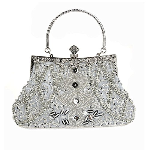(MY Women's Vintage Flower Beaded Sequin Evening Bags Clutch Purse Handbags for Formal Party Bridal)