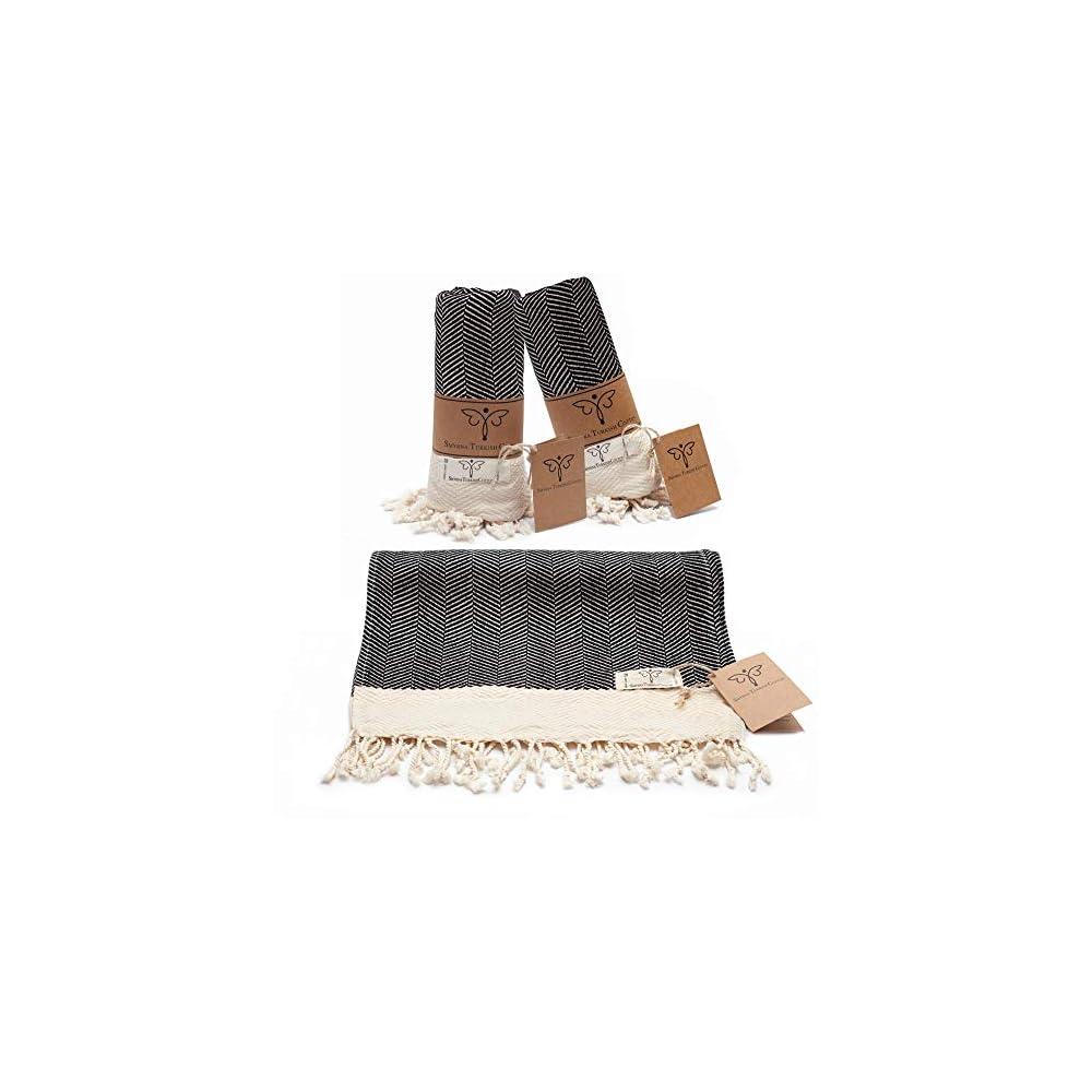 Smyrna Original Turkish Hand Towels Herringbone Series Set of 2 | 100% Cotton, 16 x 40 Inches | Decorative Bathroom…