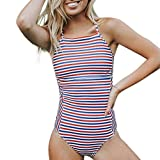 Sexy Striped Thong Bikini Monokini Swimwear Bathing Suit Swimsuit Beach Wear Cover up