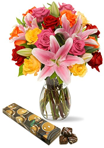 Benchmark Bouquets Big Blooms, With Vase and 8-piece Chocolate Caramels