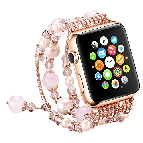 UMTELE Beaded Bracelet for Apple Watch 38mm, Elastic Hand Ornament Decorated with Faux Pearl Luxury Women Strap Replacement Band + Rose Gold TPU Case for Apple Watch Series 1, Series 2, Pink