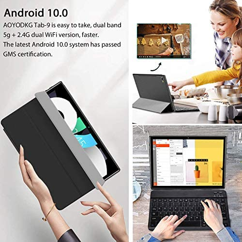 "Tablet 10 inch, Android 10.0 Tablet PC with Keyboard and Mouse,4GB +64GB ROM/128GB Expansion, 1.6 GHz Quad Core Processor,5G Dual-Band WiFi,10.1"" IPS Touch-Screen,Dual Cameras, Bluetooth, 6000mAh"