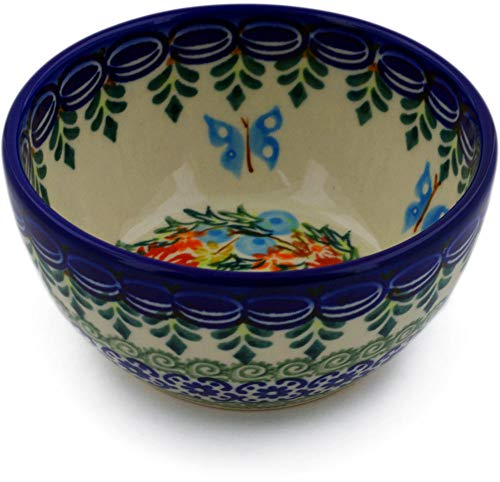Polish Pottery 4-inch Bowl (Ring Of Flowers Theme) Signature UNIKAT + Certificate of Authenticity ()