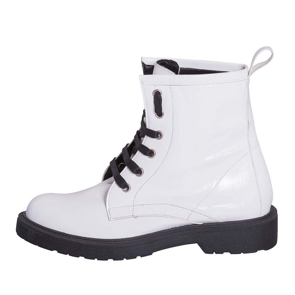 KDB39-01 Stiefeletten Weiß für Damen, Weiß Stiefeletten mit schwarzen Schnüren - 0010b2