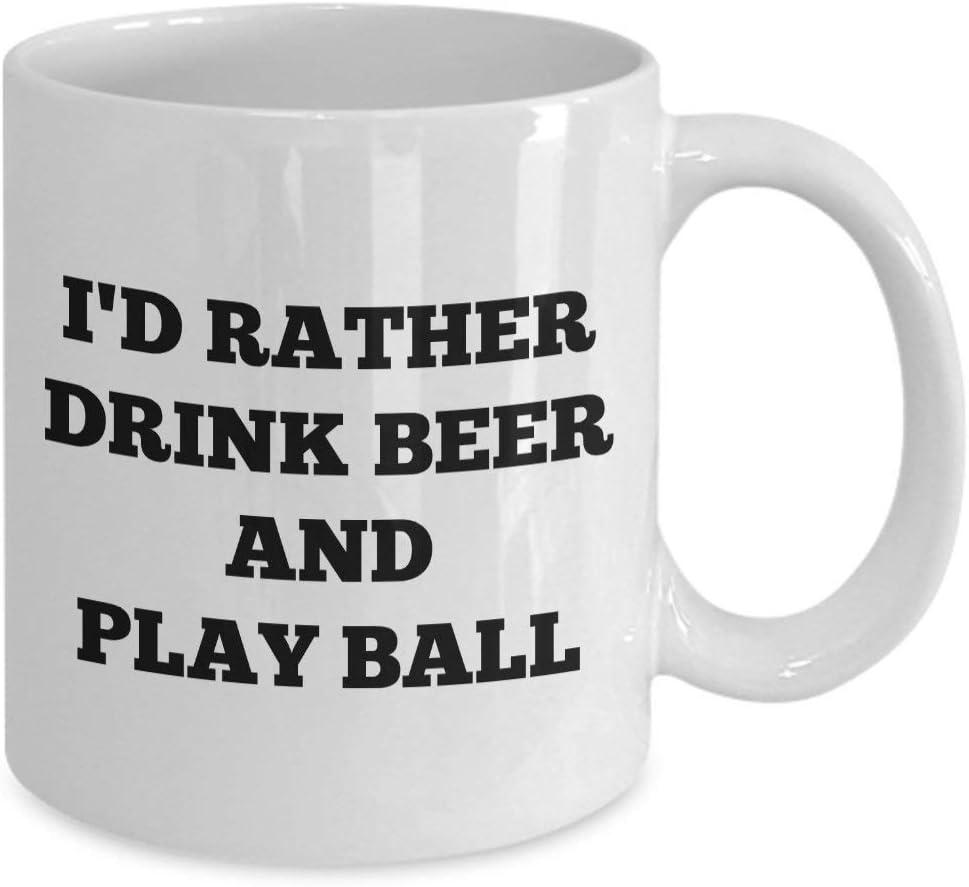 N\A I 'D Rather Drink Beer and Play Ball Coffee Mug - Divertido béisbol Personalizado Regalo de cumpleaños para él Sus Hombres Mujeres papá mamá Padre Madre Hijo Amigo Novio Novia Broma Personalizada