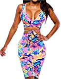Uget Women's Crop Top Midi Skirt Outfit Two Piece Bodycon Bandage Nightclub Dress (X-Large, Multicolor)