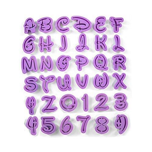 Anokay Fondant Ausstecher Ausstechformen Auswerfer Stempel Alphabet Zahlen Zeichensetzung Buchstaben Tortendeko Kuchendekorationsset Backen (36 teilig)